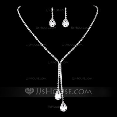 Elegant Copper/Silver Plated With Rhinestone Ladies' Jewelry Sets