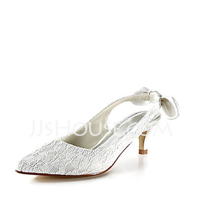 Women's Lace Satin Kitten Heel Closed Toe Pumps Slingbacks With Bowknot Stitching Lace