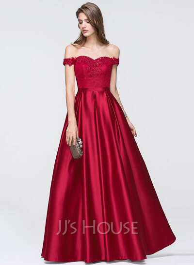 A Line Princess Off The Shoulder Floor Length Satin Prom