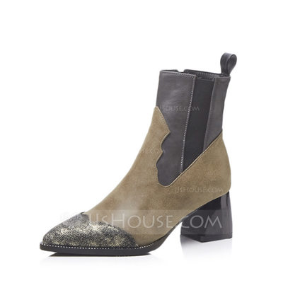 Women's Leatherette Chunky Heel Boots Ankle Boots With Split Joint shoes