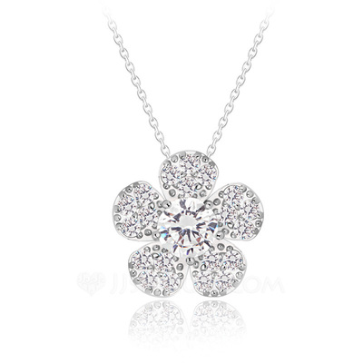Flower Shaped Zircon/Platinum Plated Ladies' Necklaces
