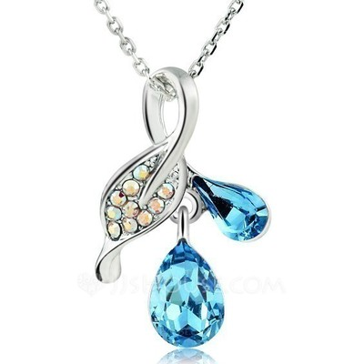 Exquisite Platinum Plated With Crystal Ladies' Necklaces