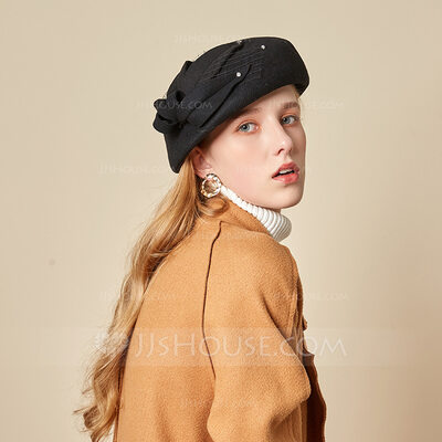 Ladies' Beautiful/Glamourous/Charming Wool With Tulle Beret Hats