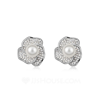 Beautiful Pearl/Platinum Plated Ladies' Earrings