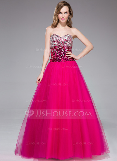 Ball-Gown Sweetheart Floor-Length Tulle Sequined Prom Dress With Beading