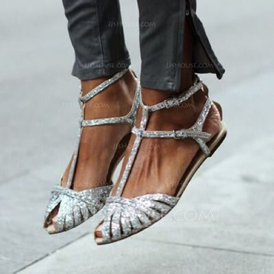 Women's PU Flat Heel Peep Toe Sandals With Buckle Hollow-out