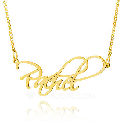 Custom 18k Gold Plated Silver Cursive Vintage Name Necklace - Christmas Gifts