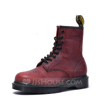 Women's Real Leather Low Heel Boots Ankle Boots Martin Boots shoes