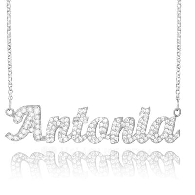 [Free Shipping]Custom Sterling Silver Name Necklace With Diamond