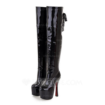 Leatherette Stiletto Heel Platform Over The Knee Boots With Buckle shoes