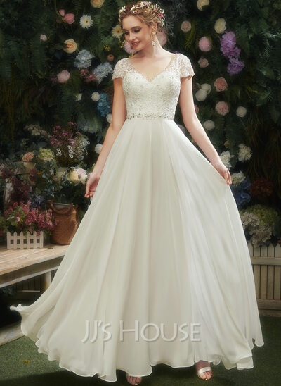 A-Line V-neck Floor-Length Wedding Dress With Lace Beading Sequins