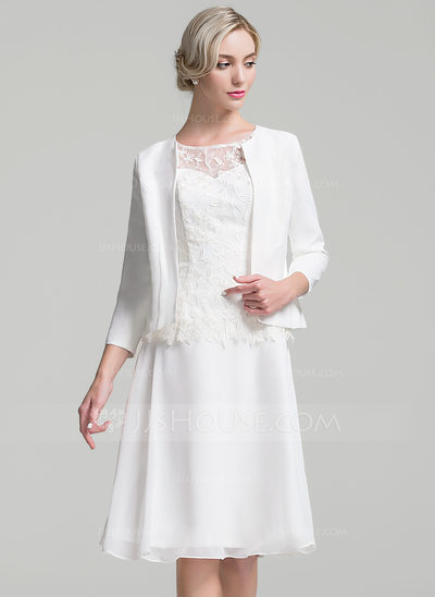 A-Line/Princess Scoop Neck Knee-Length Chiffon Mother of the Bride Dress