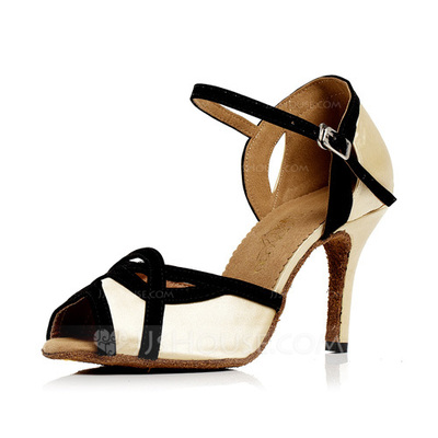 Women's Satin Heels Sandals Latin With Buckle Dance Shoes