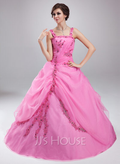 Ball-Gown Square Neckline Floor-Length Organza Quinceanera Dress With Ruffle Beading Appliques Lace