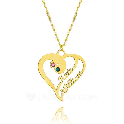 Custom 18k Gold Plated Silver Two Name Necklace Heart Necklace Birthstone Necklace