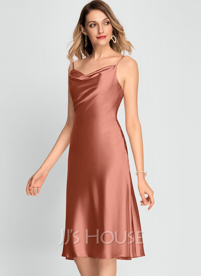 A-Line Cowl Neck Knee-Length Rayon Cocktail Dress With Split Front