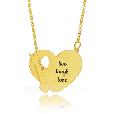 Christmas Gifts For Her - Custom 18k Gold Plated Silver Engraving/Engraved Heart Necklace With Arrow