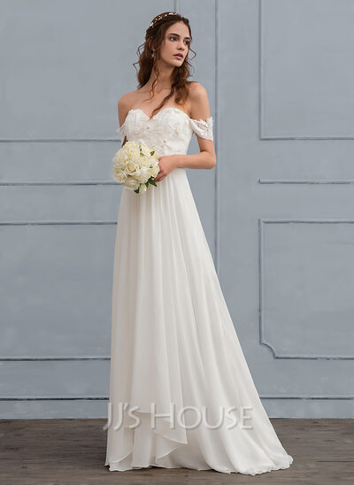 Sweep a Line Wedding Dresses with Trains