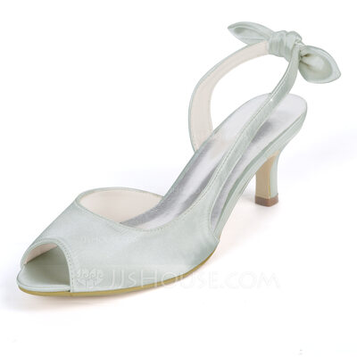 Women's Satin Low Heel Stiletto Heel Peep Toe Pumps With Bowknot