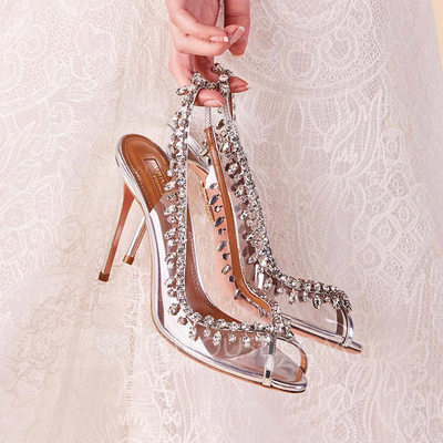 Women's Leatherette Spool Heel Peep Toe Sandals Slingbacks With Tassel Crystal