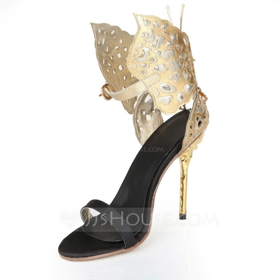 Women's Real Leather Stiletto Heel Pumps Sandals With Bowknot