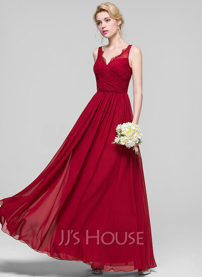 A-Line/Princess V-neck Floor-Length Chiffon Bridesmaid Dress With Ruffle Lace
