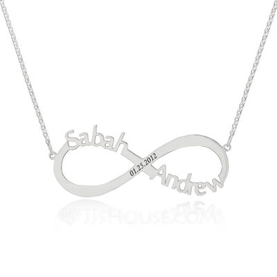 Christmas Gifts For Her - Custom Sterling Silver Infinity Three Name Necklace Infinity Name Necklace