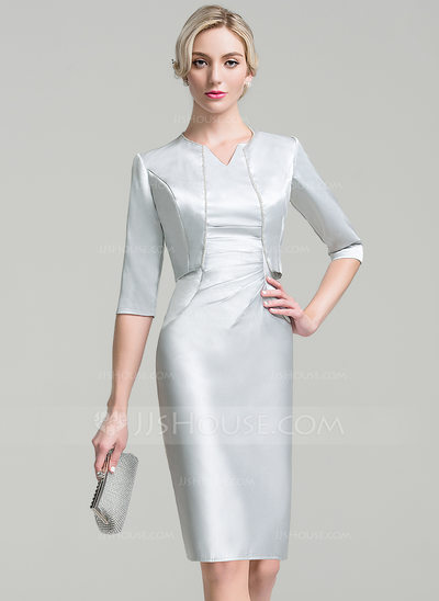 Sheath/Column V-neck Knee-Length Satin Mother of the Bride Dress With Ruffle Beading Sequins