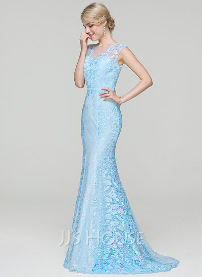 Trumpet/Mermaid Scoop Neck Sweep Train Lace Prom Dresses (018112731 ...