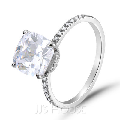 Side Stones Cushion Cut 925 Silver Engagement Rings