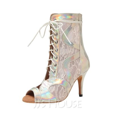 Women's Lace Boots Dance Boots With Hollow-out Dance Shoes