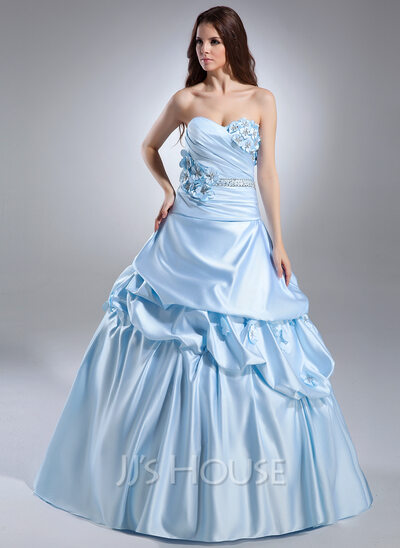 Ball-Gown Sweetheart Court Train Satin Quinceanera Dress With Ruffle Beading Flower(s)