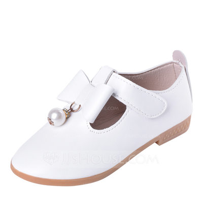 Girl's Round Toe Closed Toe Leatherette Flats Flower Girl Shoes With Bowknot Velcro