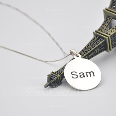Personalized Couples' Hottest 925 Sterling Silver With Round Engraved Necklaces Necklaces For Mother/For Friends/For Couple