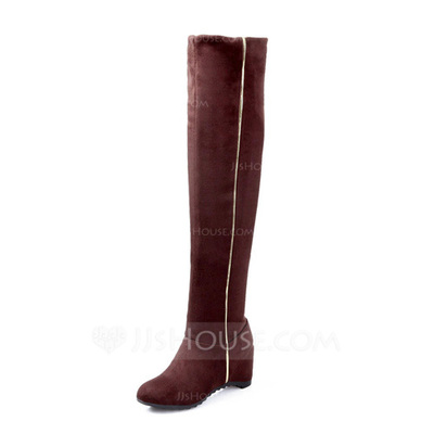 Suede Wedge Heel Over The Knee Boots shoes