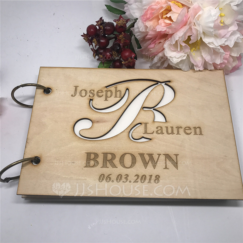 Personalized design Wood Guestbook