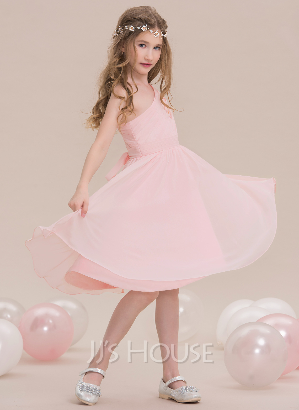 One-Shoulder Knee-Length Chiffon Junior Bridesmaid Dress With Ruffle