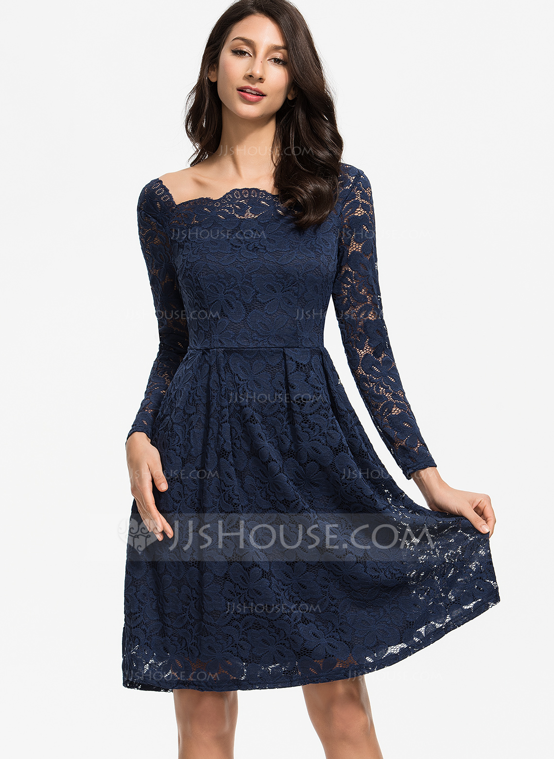 Polyester/Lace With Lace/Solid Knee Length Dress
