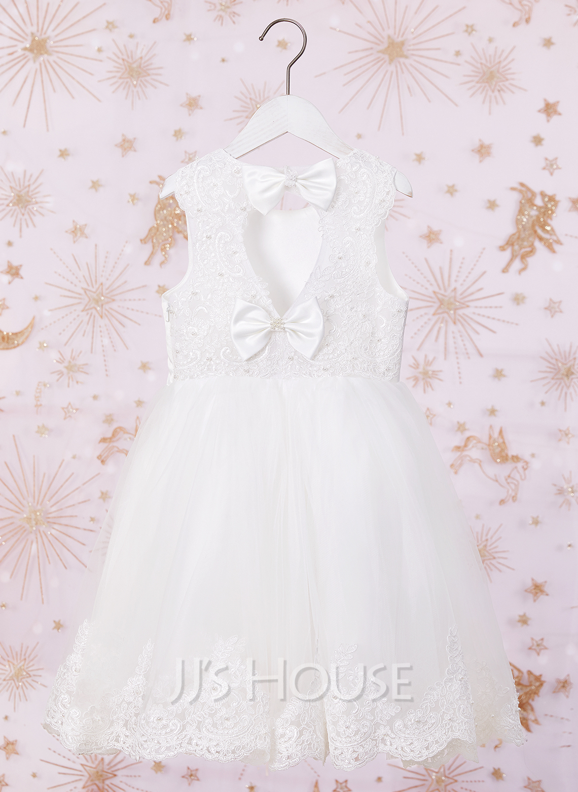 A-Line Knee-length Flower Girl Dress - Tulle/Lace Sleeveless Scoop Neck With Beading/Bow(s)/Back Hole