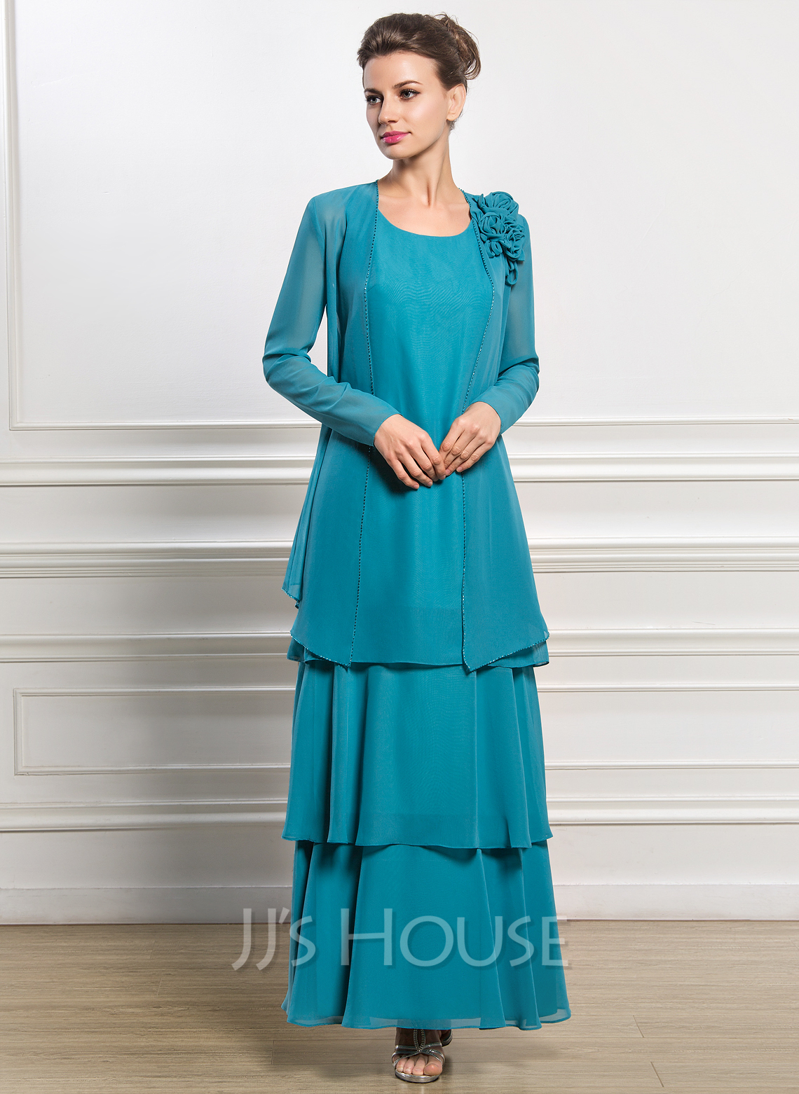 A-Line/Princess Scoop Neck Ankle-Length Chiffon Mother of the Bride ...