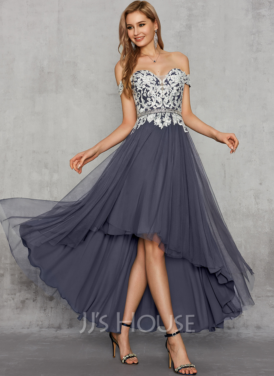 A-Line Off-the-Shoulder Asymmetrical Chiffon Lace Prom Dresses With Beading