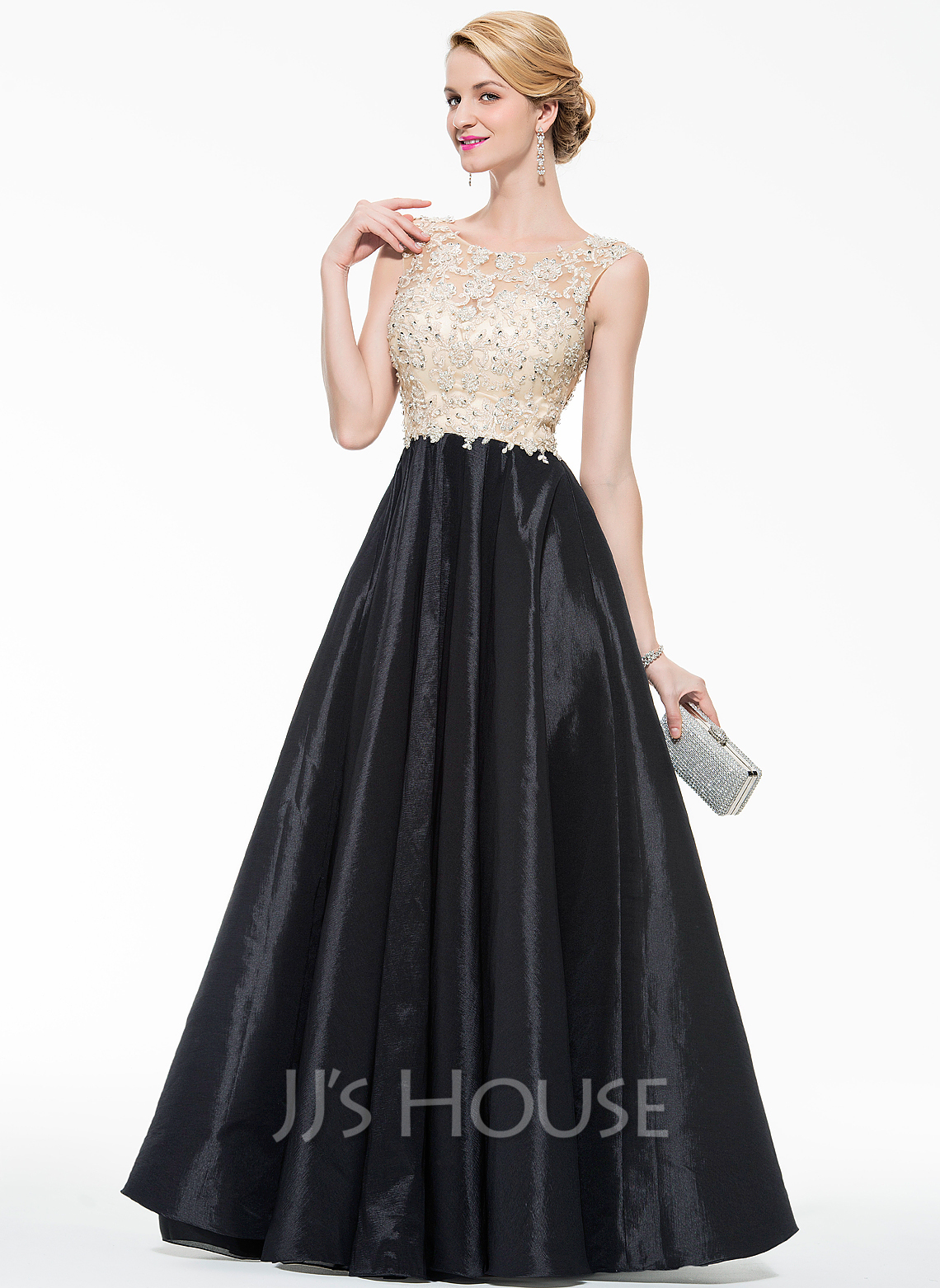 60653e1438d Ball-Gown Scoop Neck Floor-Length Taffeta Tulle Prom Dresses With Beading  Appliques Lace. Loading zoom