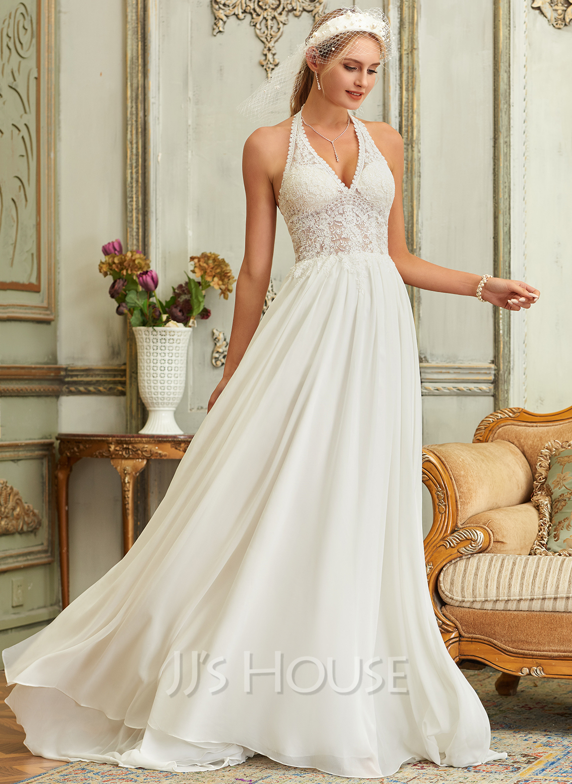 A-Line Halter Sweep Train Chiffon Lace Wedding Dress