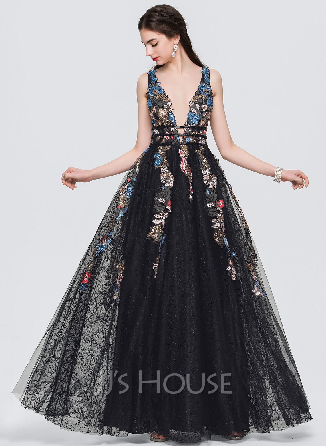 A-Line/Princess V-neck Floor-Length Evening Dress With Lace Beading ...