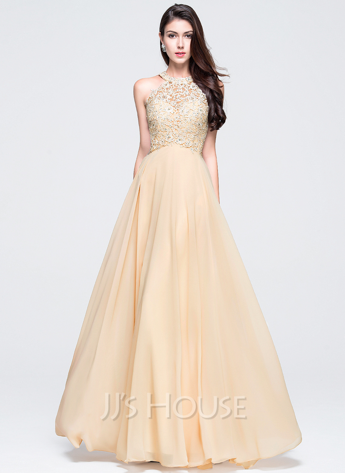 A Line Princess Scoop Neck Floor Length Chiffon Prom Dress