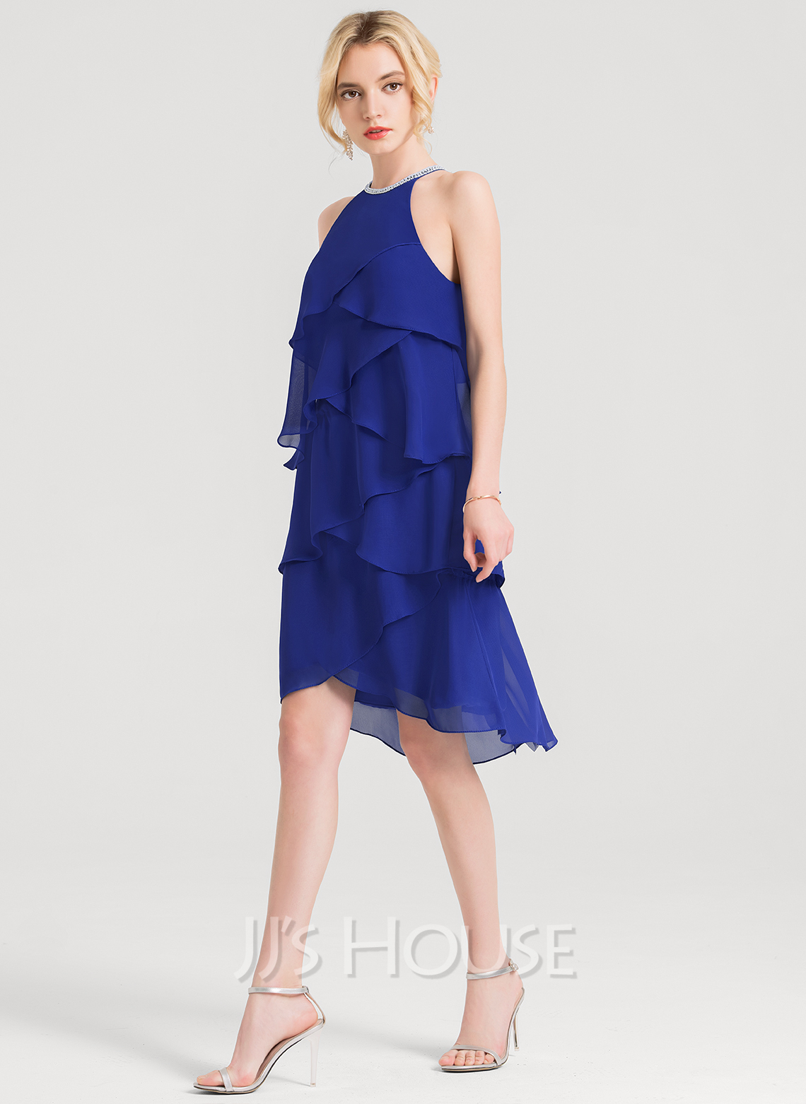 Scoop Neck Asymmetrical Chiffon Cocktail Dress With Beading Cascading Ruffles