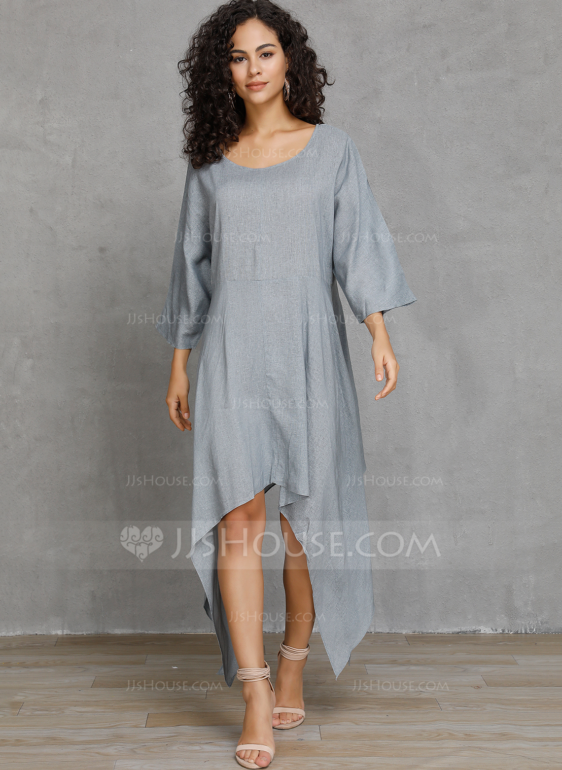Linen With Solid Asymmetrical Dress