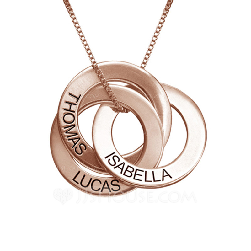 Personalized Ladies' Chic 925 Sterling Silver With Round Engraved Necklaces Necklaces For Bride/For Bridesmaid/For Mother/For Friends/For Couple