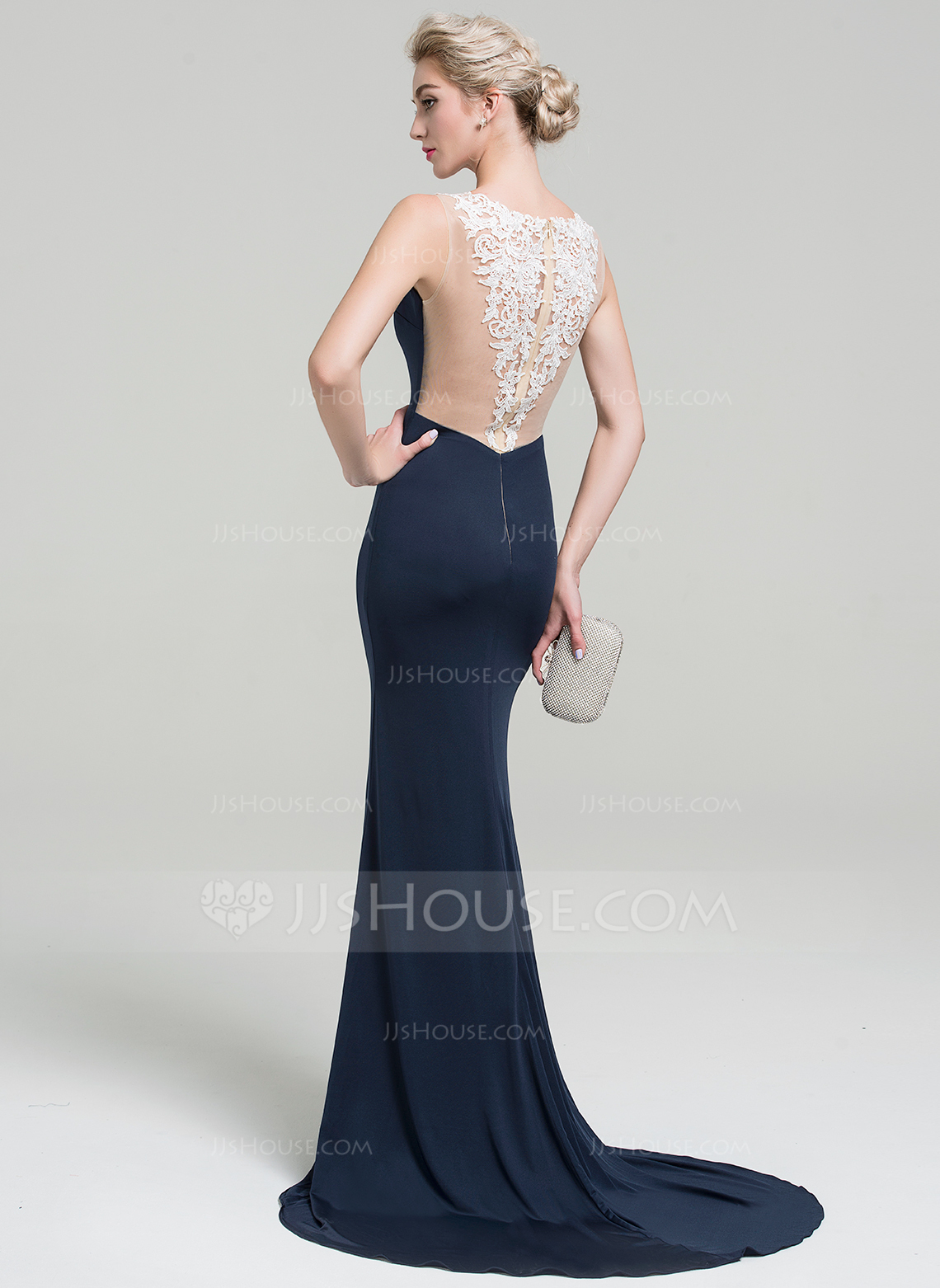 f8dc640259 Trumpet Mermaid V-neck Sweep Train Jersey Evening Dress With Lace Split  Front. Loading zoom