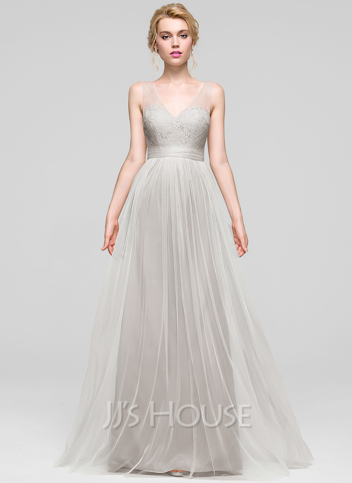 V-neck Floor-Length Tulle Bridesmaid Dress